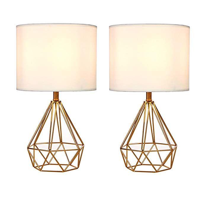 Sottae Golden Hollowed Out Base Modern Lamp Bedroom Livingroom Beside Table Lamp 16 Desk Lamp With Wh Modern Lamps Bedroom Bedroom Lamps Geometric Table Lamp