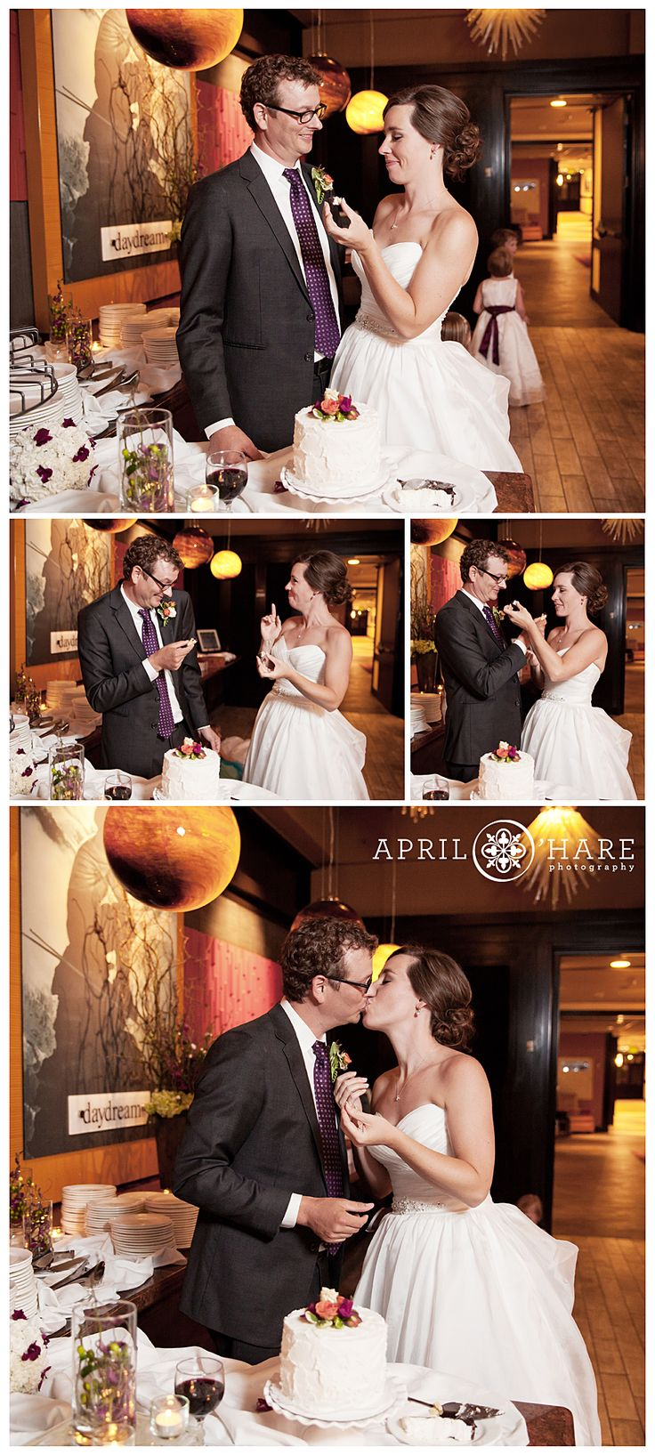 Cake Cutting at Steamboat Springs Colorado Wedding Reception at Sevens Restaurant at Sheraton Hotel. - April O'Hare Photography http://www.apriloharephotography.com