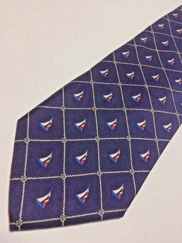 Brooks Brothers Mens Necktie Red White Blue Sailboats Nautical Italian Silk USA #BrooksBrothers #Tie