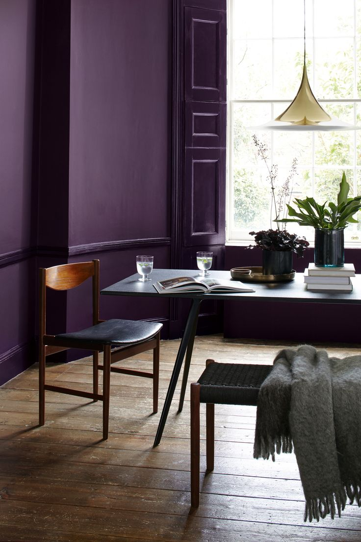 Dark purple dining room - Give Dining Rooms A Dramatic Flavour With Rich And Opulent Wild Blackberry By Heritage Moody