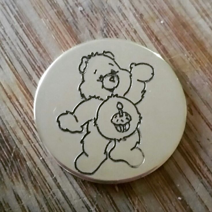 Birthday bear on 30mm brass pendant #carebears #gallifreyanpendants