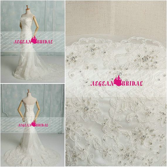 RW57 Lace Wedding Dress with Beading Crystal by Aegeanbridal
