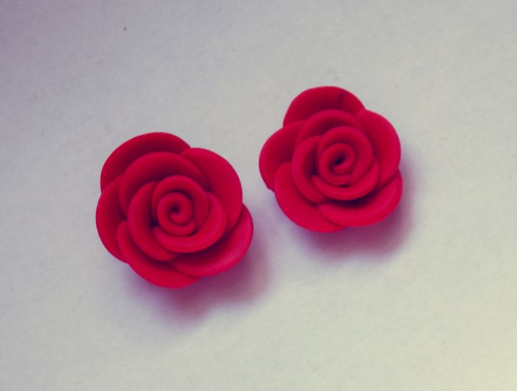 red, fimo, rose, earrings