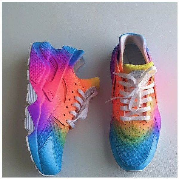 Multicoloured pink fade sole nike huarache. The base shoe is a black nike huarache which is then prepared and customised using professional products and leathe…