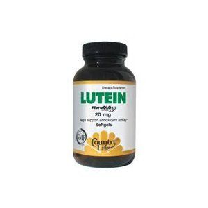 COUNTRY LIFE VITAMINS LUTEIN,20 MG, 60 SGEL *** Read more info by clicking the link on the image.
