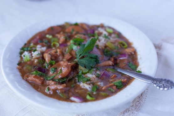 My favorite way to use leftover turkey. Must give credit where due....this is my modification to one of Emerils recipes - his was to boil a turkey specifically for gumbo - mine is to use up those leftovers!