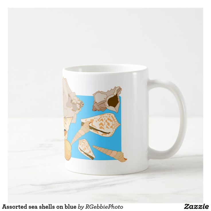 Assorted sea shells on blue coffee mug - $16.95 - Assorted sea shells on blue coffee mug - by #RGebbiePhoto @ #zazzle - #Shells #Sea #Crustaceans  - Assorted illustrated sea shells on a blue background.