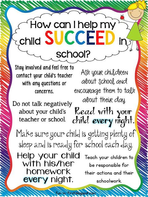 Fun in First Grade: Tips for Parents...How to Help My Child Succeed (Site also has tips for helping kids with reading and math - All cute like this)