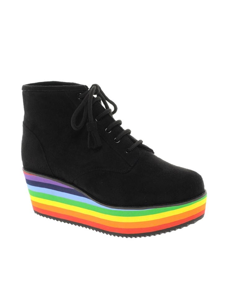 ASOS AMAZE Flatform Ankle Boots I'd wear to mardi gras.