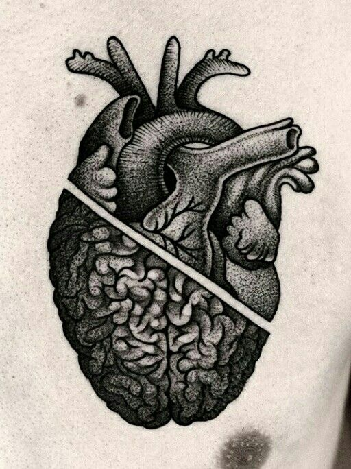 @kamilczapiga heart Brain tattoo