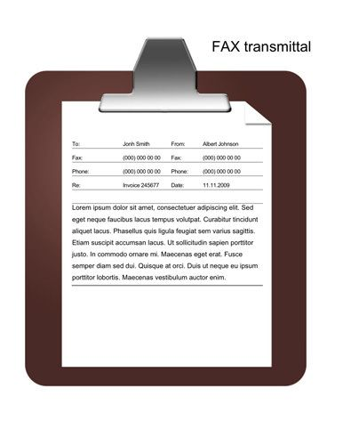 Message on a clipboard - Free Fax Template by Hloom.com