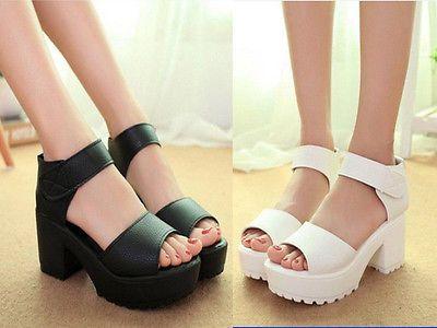 Fashion Summer Woman Block Heel Creeper Sandals Velcro Ankle High Platform Shoes: