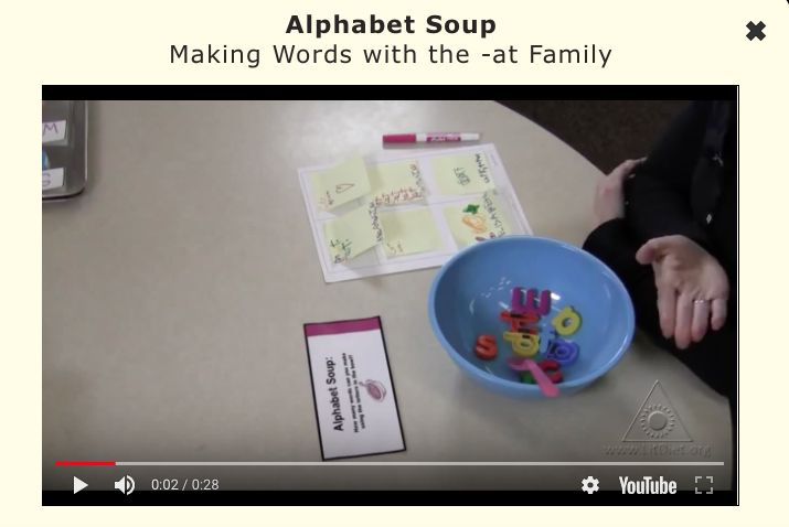 INSTRUCTION - Alphabet Soup gives students an opportunity to make a variety of words using the word families they have been learning in class. Good readers know that sounds are determined by letter patterns not individual letters (CTW p. 60), and this activity enables students to gain confidence constructing words using various letter patterns.