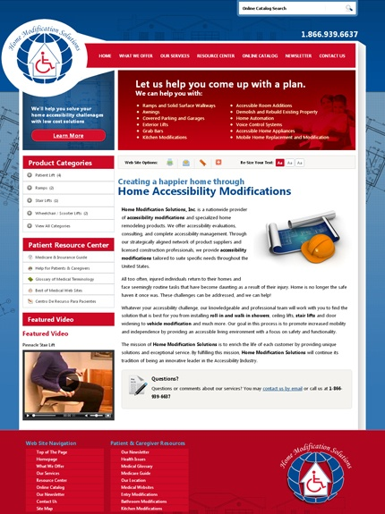 HME website for Home Modification Solutions by VGM Forbin.
