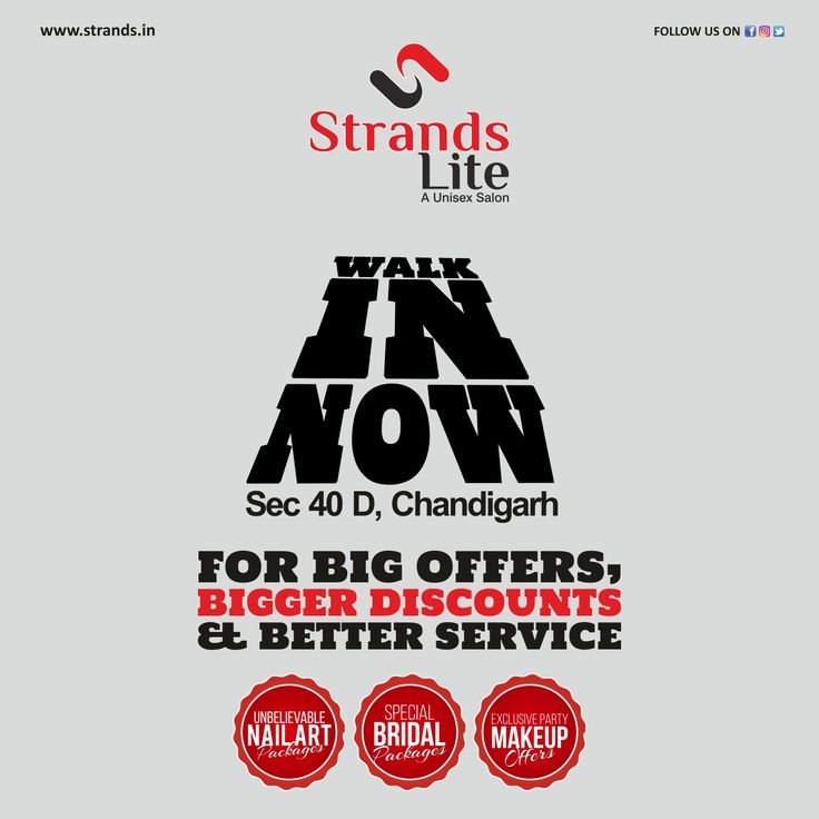 #Strands Lite at Sector 40 D is the #latest beacon of #beauty and class #enlightening corridors in the #city #beautiful. Make an #appointment and #discover your #beautiful self again and again.