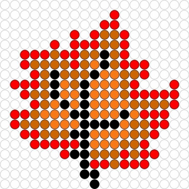 Kralenplank: herfstblad.