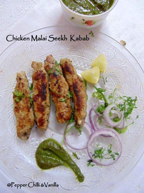 Chicken MalaiSeekh Kabab Recipe/Malai Seekh Kebab Recipe. | Pepper, Chilli and Vanilla