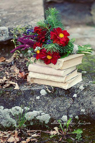 book & flowers...