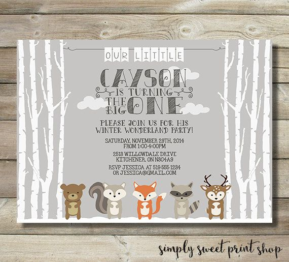Winter Onederland Woodland Animals Boy or by SimplySweetPrintShop