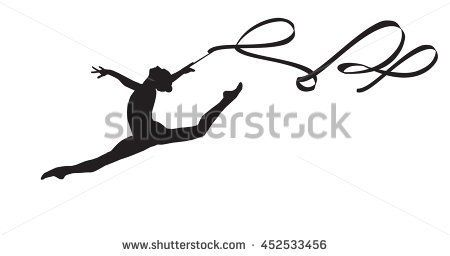 Young gymnast woman with ribbon silhouette, performing rhythmic gymnastics element, jumping doing split leap in the air, isolated on white background Illustration. Junior national group Gymnastic 2016 - stock vector