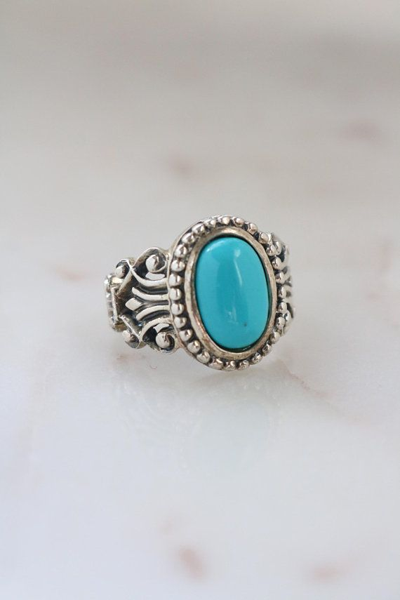 Vintage Sterling Silver Turquoise Ring Size 7.5