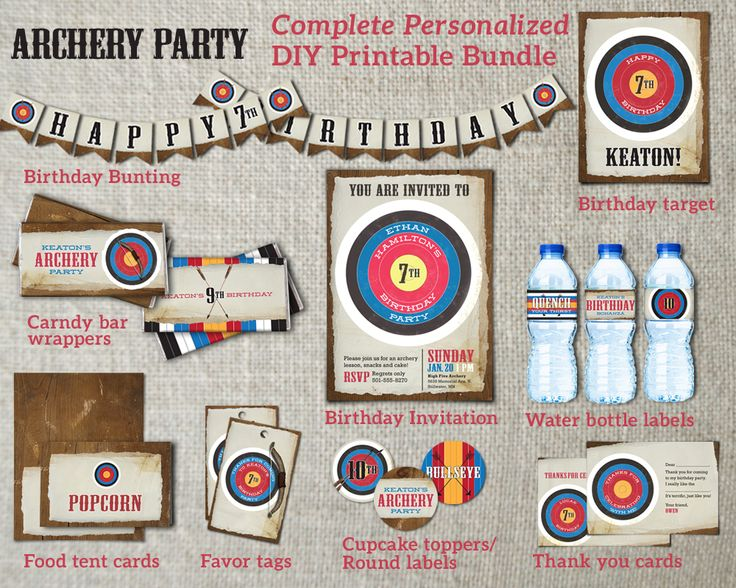 Complete personalized digital archery party package. DIY archery printables. Invitaitons, bunting, target, candy bar wrappers, water bottle wrappers, tent cards, favor tags, cupcake toppers or stickers, thank you cards.
