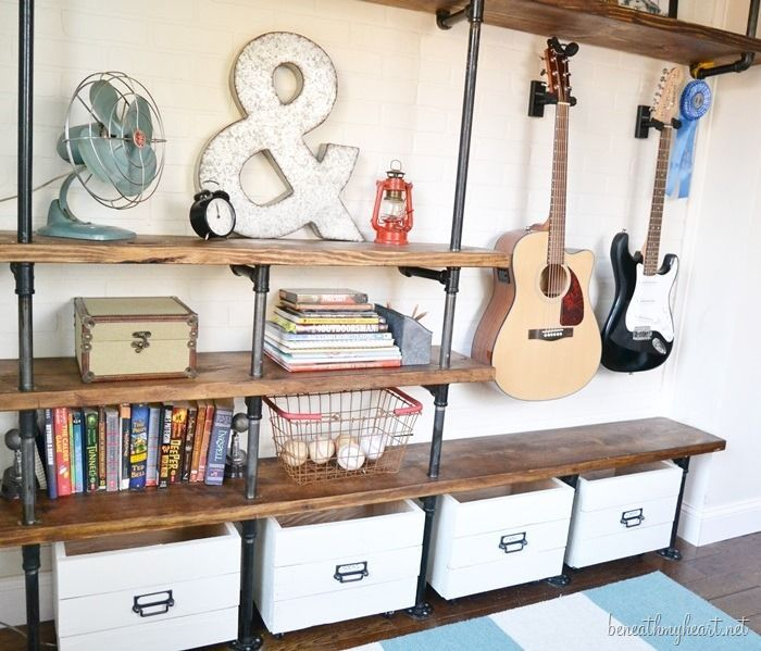 DIY Industrial Shelves make a cool way to display for boys room
