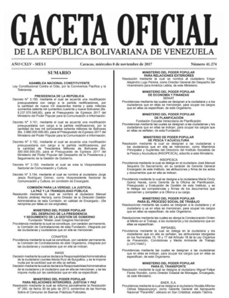 Gaceta Oficial de Ley Constitucional Contra El Odio