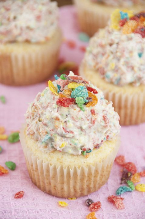 Vanilla Cupcakes with Fruity Pebbles Buttercream Frosting | Wishes and Dishes