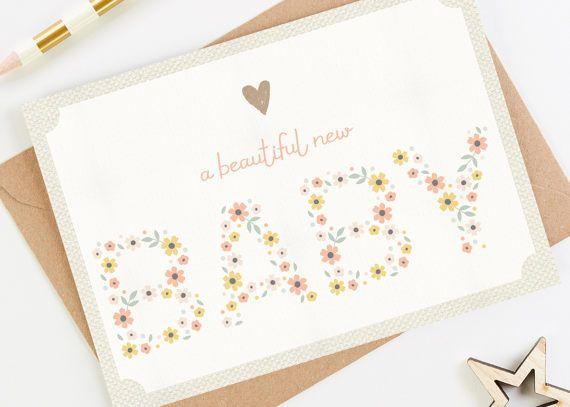 Nuevo bebé niña tarjeta color de rosa flores