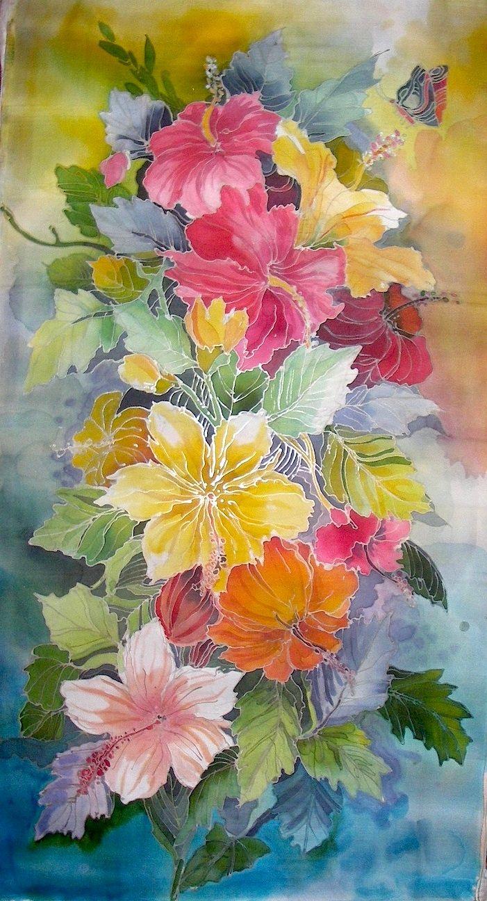 Fabric: Malaysia's National Flower; Hibiscus, Silk Batik.