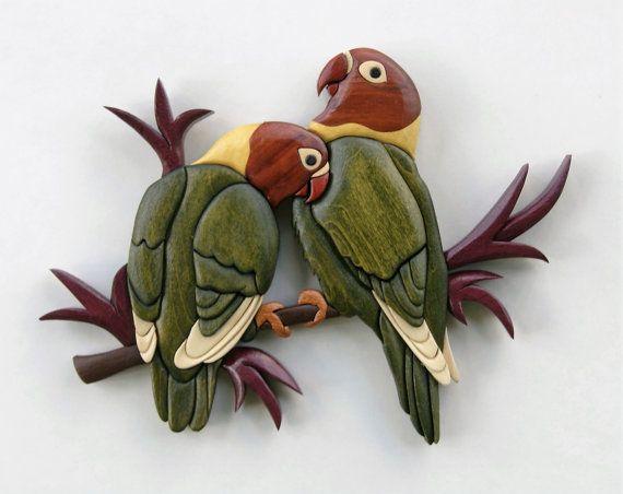 Amor aves Intarsia del colgante de pared madera por EntwoodCrafts