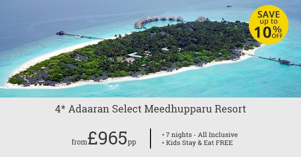 Planning a holiday in Maldives? Book a 7-night all-inclusive stay at the classy Adaaran Select Meedhupparu Resort. Free stay for your kids!