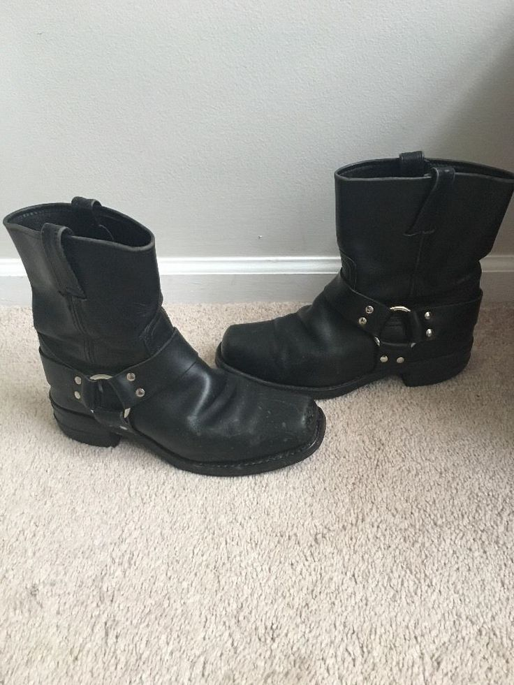 FRYE WOMEN'S SIZE 10 M LEATHER HARNESS MOTORCYCLE USA SQUARE TOE BOOT #FRYE #Motorcycle #MOTORCYCLBOOTS