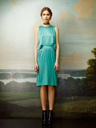 Rützou turquoise silk dress