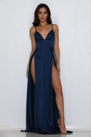 Ariana dark blue satin dress - perfect for bridesmaids wedding guests, black tie, prom, formal and homecoming!
