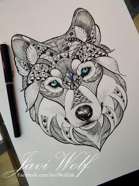 De vuelta a la acción :DOrnamental Wolf- Diseño propio.Quiero empezar a hacer tatuajes de animales en este estilo lml saludos!: