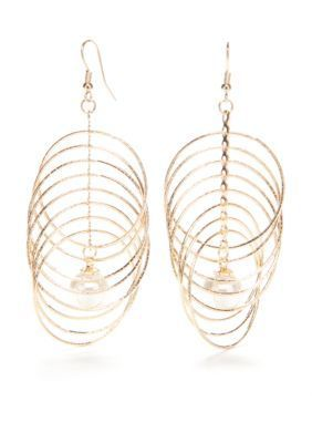 Kim Rogers  Gold-Tone Sensitive Skin Pearl and Ring Drop Earrings