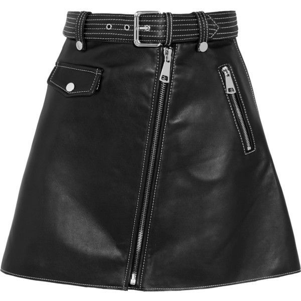 Maje Leather mini skirt (30,650 PHP) ❤ liked on Polyvore featuring skirts, mini skirts, bottoms, saia, black, genuine leather skirt, short a line skirt, zip skirt, leather zipper skirt and real leather skirt