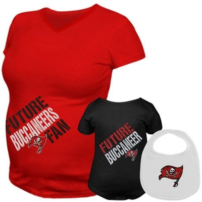 """Browse maternity and baby gear for every team at http://pin.fanatics.com/Maternity_Shirts/browse/source/pin-maternity-sclmp  Featuring a maternity tee with mesh-inspired """"Future Buccaneers Fan"""" lettering across the belly, an infant creeper with """"Future Buccaneer"""" lettering and coordinating bib with the team logo, this team-spirited set will leave nothing to chance in the hopes you will be the proud mother of a Tampa Bay fan!"""