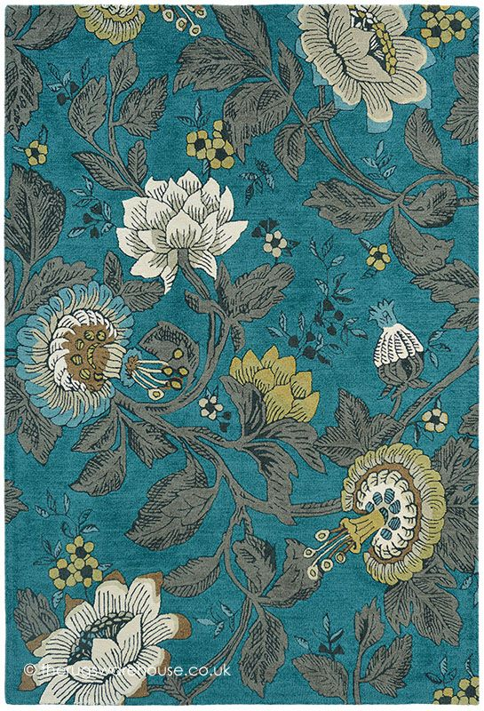 Passion Flower Teal Rug (Wedgwood Rugs), a vibrant floral wool rug in shades of teal blue, beige, mustard, taupe & black (hand-woven, 3 sizes) http://www.therugswarehouse.co.uk/modern-rugs3/wedgwood-rugs/passion-flower-teal-rug.html