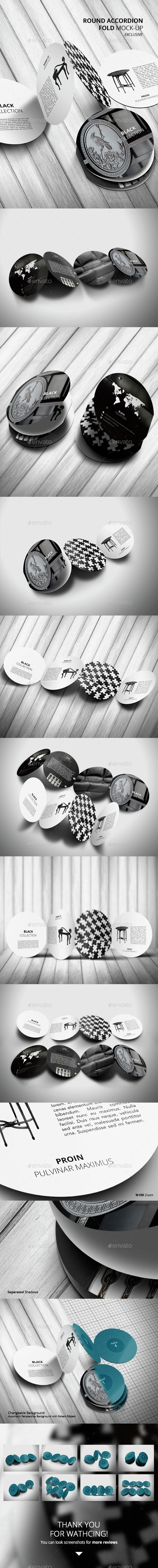 Round Accordion Fold Brochure Mock-Up - Product Mock-Ups Graphics