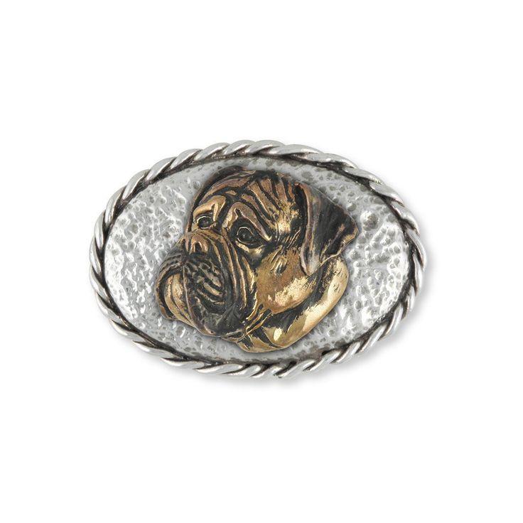Bullmastiff Belt Buckle Jewelry Sterling Silver And Yellow Bronze Handmade Dog Belt Buckle BM4-BK