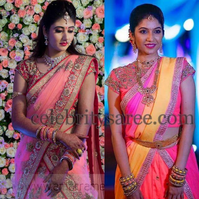 Brides in Baby Pink Half Sarees - Saree Blouse Patterns