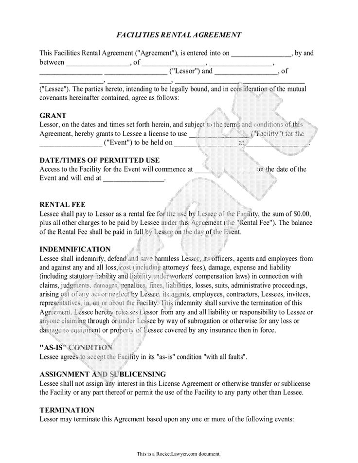 Sample Facilities Rental Agreement Form Template