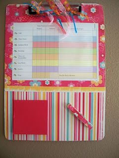 Personal Progress tracking sheet for each girl to have at home.  Uses a clipboard, scrapbook paper, ribbons, post-its, and a clothes pin.  Great Christmas gift!