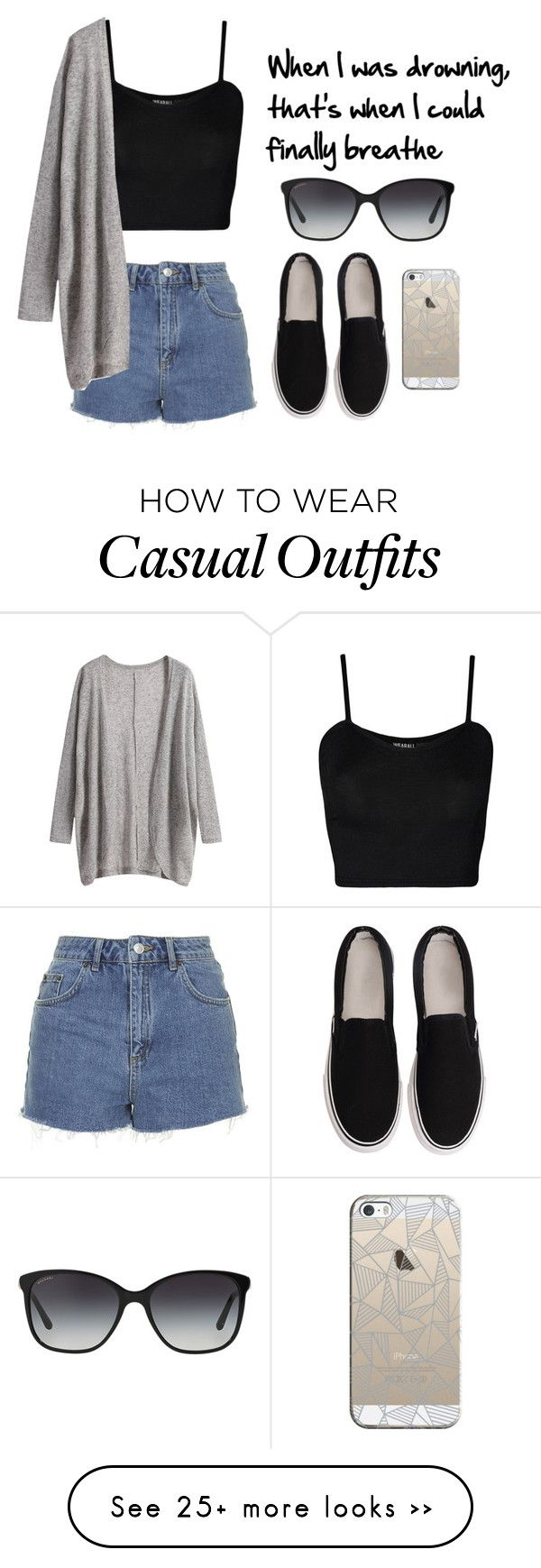 """Casual outfit"" by jordynnolivia on Polyvore featuring Topshop, WearAll, Casetify and Bulgari"