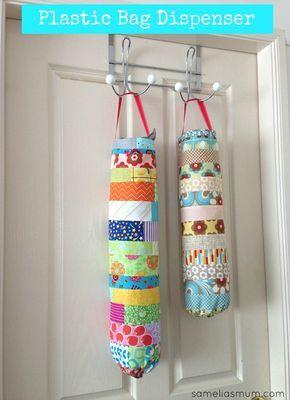 Plastic Bag Dispenser - patchwork made with fabric scraps #SameliasMum