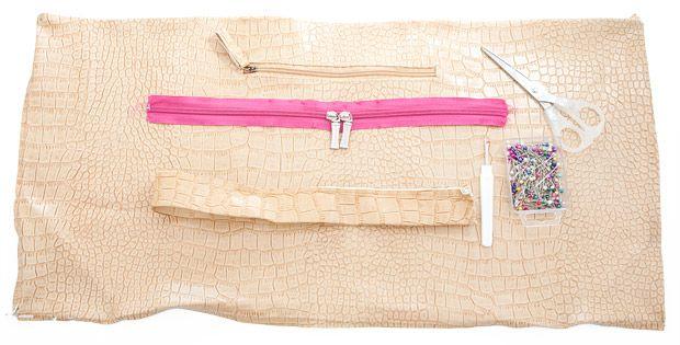 Do it Yourself Clutch - Fashion Recycling aus einer kaputten Weekender-Tasche - Material: Kunstleder, Reißverschluss, Schere, Nahttrenner