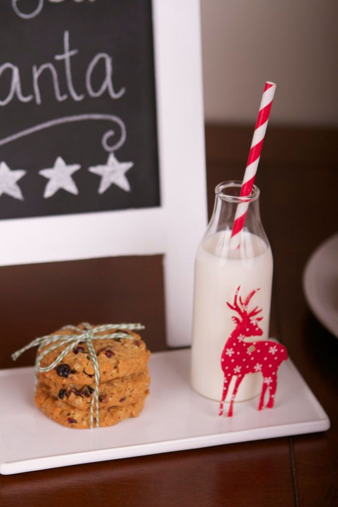 Thank You Santa!  Milk & Cookies for Santa using lime green bakers twine, mini milk bottle, red & white striped straw and red reindeer tag.